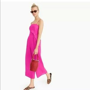 J. Crew Neon Pink Linen Jumpsuit Without Belt